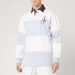 JW Anderson Men's Panelled Polo Rugby Shirt - Glacier Blue