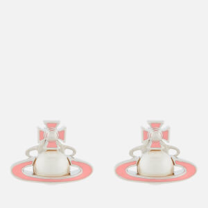 Vivienne Westwood Women's Iris Bas Relief Earrings - Rhodium Pearl Pink