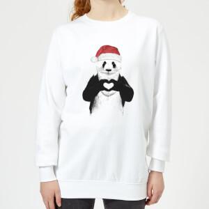 Santa Panda Women's Sweatshirt - White