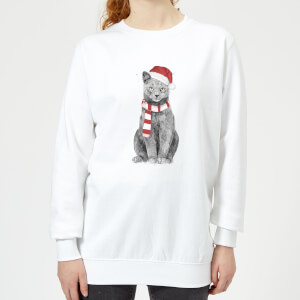 Balazs Solti Xmas Cat Women's Sweatshirt - White