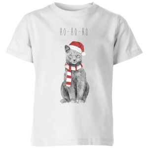 Balazs Solti Ho Ho Ho Christmas Cat Kids' T-Shirt - White