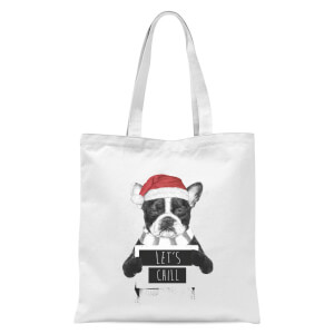 Balazs Solti Let It Snow Frenchie Christmas Tote Bag - White