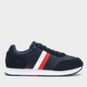 Tommy Hilfiger Men's Corporate Leather Flag Running Style Trainers - Desert Sky