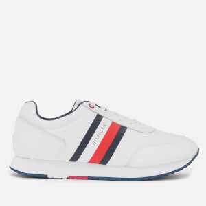 Tommy Hilfiger Men's Corporate Leather Flag Running Style Trainers - White