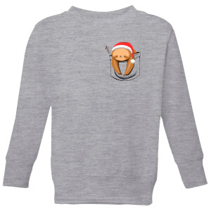 Tobias Fonseca Sloth In A Pocket Xmas Kids' Sweatshirt - Grey