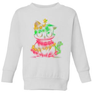 Tobias Fonseca Meow Catmas Lights Kids' Sweatshirt - White