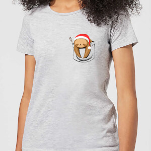 Tobias Fonseca Sloth In A Pocket Xmas Women's T-Shirt - Grey