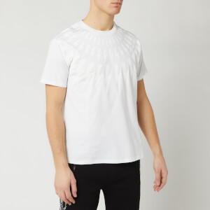 Neil Barrett Men's Fairisle Thunderbolt Bolt T-Shirt - White