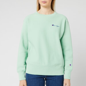 Champion Women's Small Script Crew Neck Sweatshirt - Mint Green