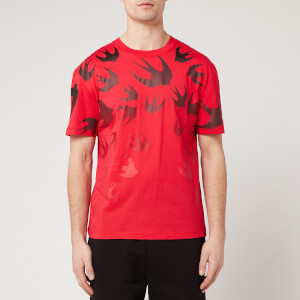 McQ Alexander McQueen Men's Dropped Shoulder Fading Swallow Swarm T-Shirt - Rouge