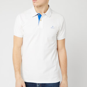 GANT Men's Contrast Collar Pique Short Sleeve Rugger Polo Shirt - Eggshell