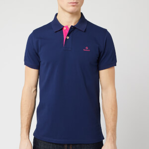 GANT Men's Contrast Collar Pique Short Sleeve Rugger Polo Shirt - Persian Blue