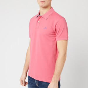 GANT Men's Contrast Collar Pique Short Sleeve Rugger Polo Shirt - Rapture Rose