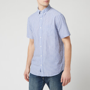 GANT Men's TP Sunsucker Stripe Red BD Short Sleeve Shirt - College Blue