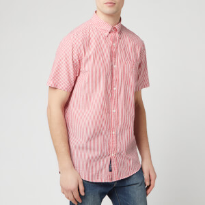 GANT Men's TP Sunsucker Stripe Red BD Short Sleeve Shirt - Bright Red