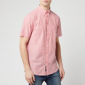 GANT Men's TP Sunsucker Stripe Red BD Short Sleeve Shirt - Bright Red