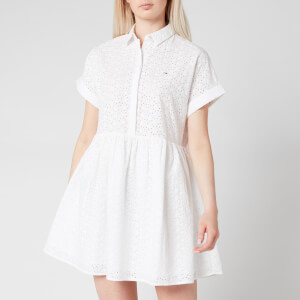 Tommy Jeans Women's TJW Shiffli Shirt Dress - White