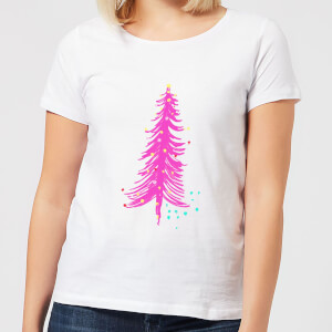 Pink Christmas Tree Women's T-Shirt - White