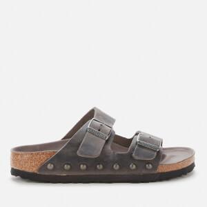 Birkenstock Women's Arizona Light Studs Oiled Leather Double Strap Sandals - Iron