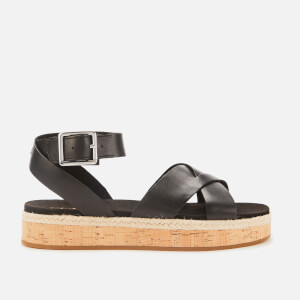 Clarks Women's Botanic Poppy Leather Flat Sandals - Black