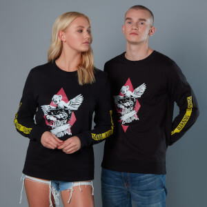 Yellow Warning Sleeve Unisex Birds of Prey Sweatshirt - Schwarz
