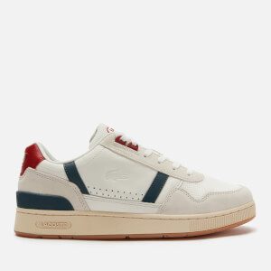 Lacoste Men's T-Clip 120 Leather/Suede Chunky Trainers - White/Navy/Red