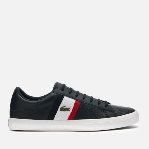 Lacoste Men's Lerond 119 3 Leather Low Top Trainers - Navy/White/Red
