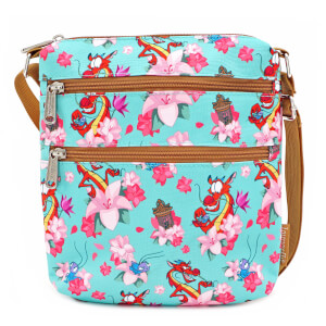 Loungefly Disney Mulan Mushu Floral Crossbody Bag