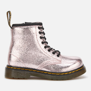 Dr. Martens Toddlers' 1460 T Crinkle Metallic Lace Up Boots - Pink Salt