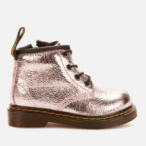 Dr. Martens Toddlers' 1460 I Crinkle Metallic Lace Up Boots - Pink Salt