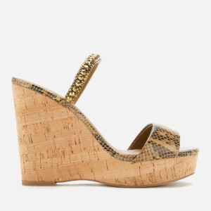 Kurt Geiger London Women's Alexia Leather Wedged Sandals - Tan Comb