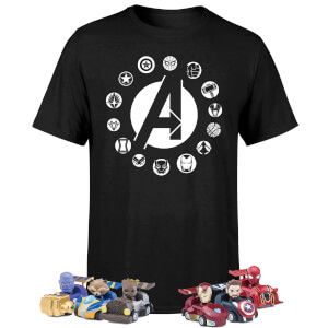 Pack Marvel Vengadores: Camiseta + 6 Coches Pullback + 6 Bolis - Exclusivo Zavvi