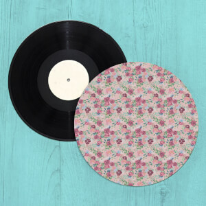 Pink Roses And Flowers Turntable Slip Mat