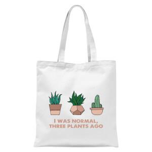 I Was Normal Three Plants Ago Illustration Tote Bag - White