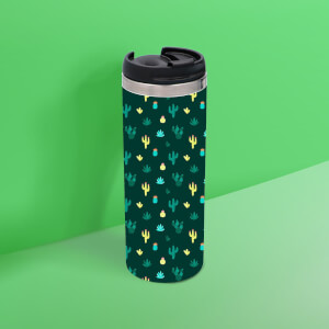 Dark Cactus Pattern Thermo Travel Mug