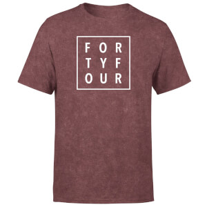 How Ridiculous Typographic Forty Four Square T-Shirt - Burgundy Acid Wash