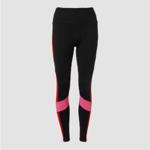 Power Colour Block Leggings - Svart/Röd