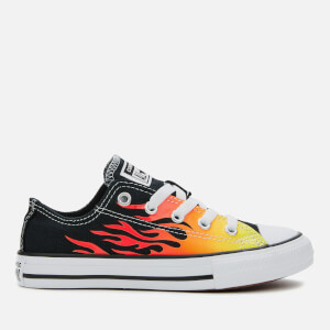 Converse Kids' Chuck Taylor All Star Archive Flame Ox Trainers - Black/Enamel Red/Fresh Yellow