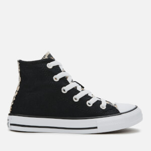 Converse Kids' Chuck Taylor All Star Leopard Print Hi-Top Trainers - Black/Driftwood/White
