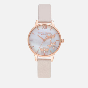 Olivia Burton Women's Dancing Dragonfly Blush Dial Watch - Pearl Pink & Rose Gold