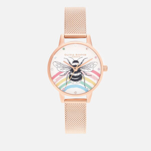 Olivia Burton Women's Illustrated Animals Rainbow Bee Watch - Rose Gold Mesh