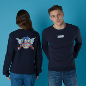 Sega Sonic Distressed Start Screen Unisex Sweatshirt - Black