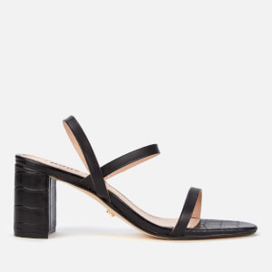 Dune Women's Marta Leather Block Heeled Sandals - Black