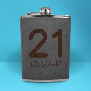 21 Let's Celebrate Engraved Hip Flask - Grey