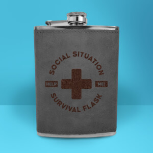 Social Situation Survival Flask - Grey Engraved Hip Flask - Grey