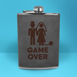 Bride Game Over Engraved Hip Flask - Grey