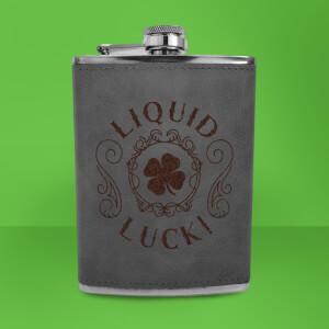 Shamrock Liquid Luck! Engraved Hip Flask - Grey
