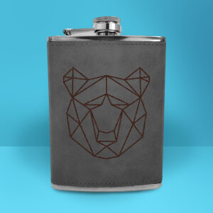 Geometric Bear Head Engraved Hip Flask - Grey