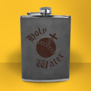 Holy Water Engraved Hip Flask - Grey