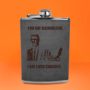 Correction Guy Meme You Say Alcoholism Engraved Hip Flask - Grey
